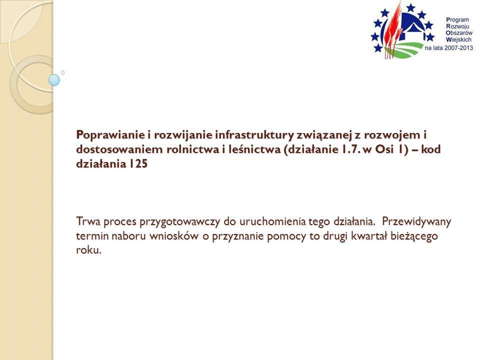Poprawianie i rozwijanie infrastruktury związanej z rozwojem i dostosowaniem rolnictwa i leśnictwa (działanie 1.7.