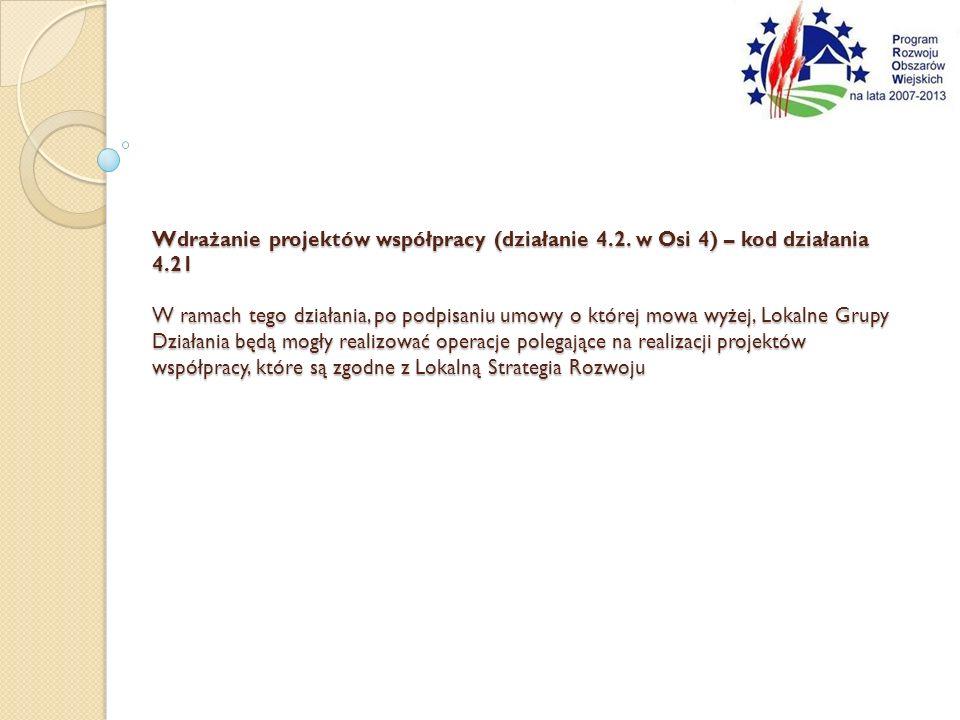 Wdrażanie projektów współpracy (działanie 4.2.
