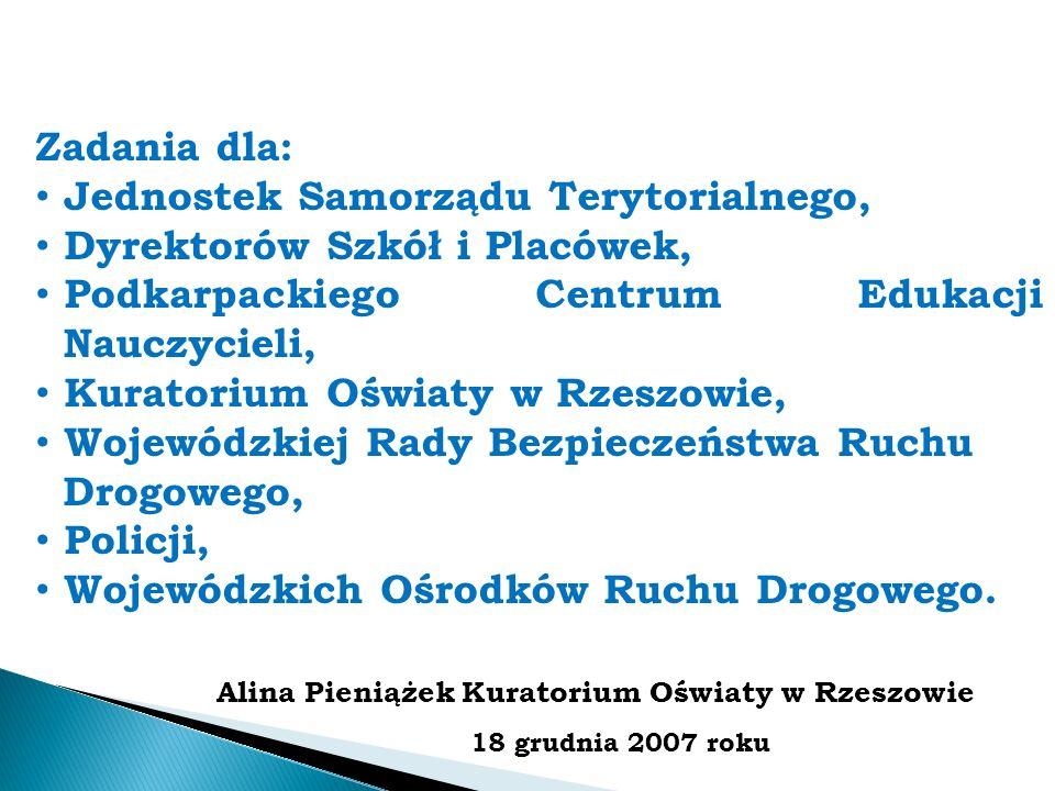 Zadania dla: Jednostek Samorządu Terytorialnego, Dyrektorów Szkół i Placówek, Podkarpackiego Centrum Edukacji Nauczycieli, Kuratorium Oświaty w Rzeszo