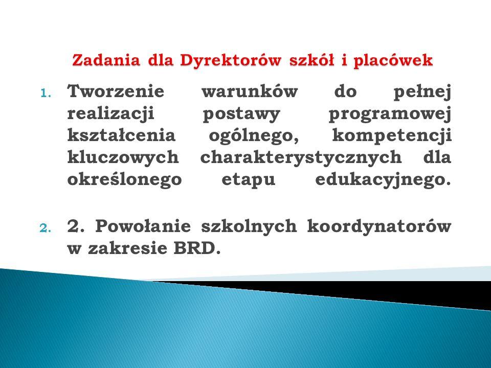 1. Tworzenie warunków do pełnej realizacji postawy programowej kształcenia ogólnego, kompetencji kluczowych charakterystycznych dla określonego etapu