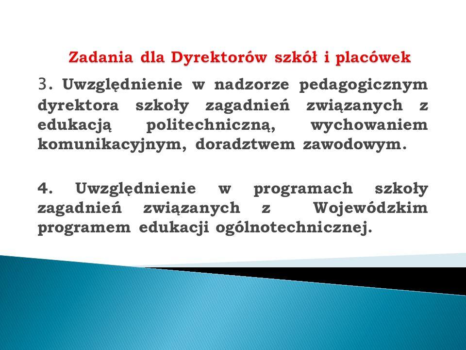 3. Uwzględnienie w nadzorze pedagogicznym dyrektora szkoły zagadnień związanych z edukacją politechniczną, wychowaniem komunikacyjnym, doradztwem zawo