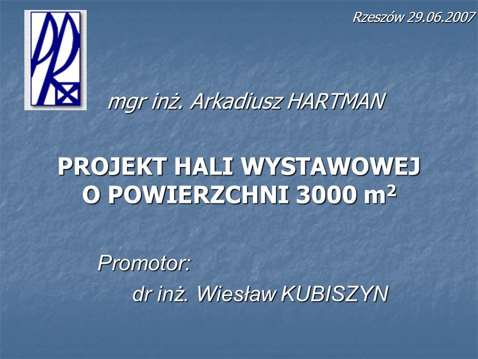 PROJEKT HALI WYSTAWOWEJ O POWIERZCHNI 3000 m 2 mgr inż. Arkadiusz HARTMAN Promotor: dr inż. Wiesław KUBISZYN Rzeszów 29.06.2007