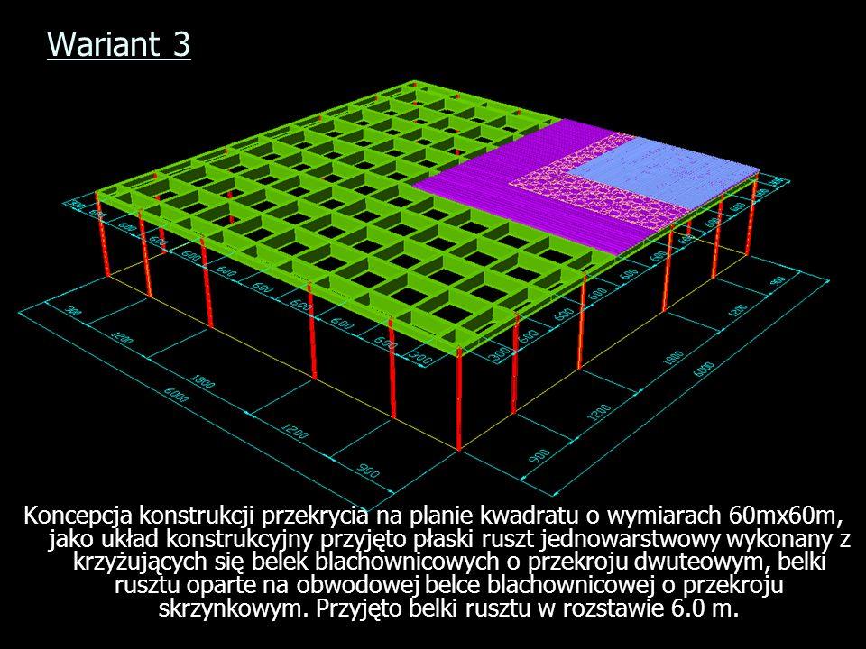 Wariant 3 Koncepcja konstrukcji przekrycia na planie kwadratu o wymiarach 60mx60m, jako układ konstrukcyjny przyjęto płaski ruszt jednowarstwowy wykon