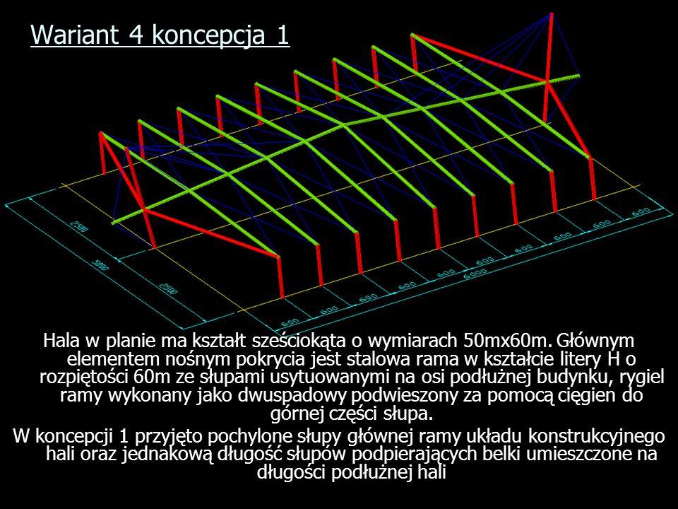 Wariant 4 koncepcja 1 Hala w planie ma kształt sześciokąta o wymiarach 50mx60m. Głównym elementem nośnym pokrycia jest stalowa rama w kształcie litery