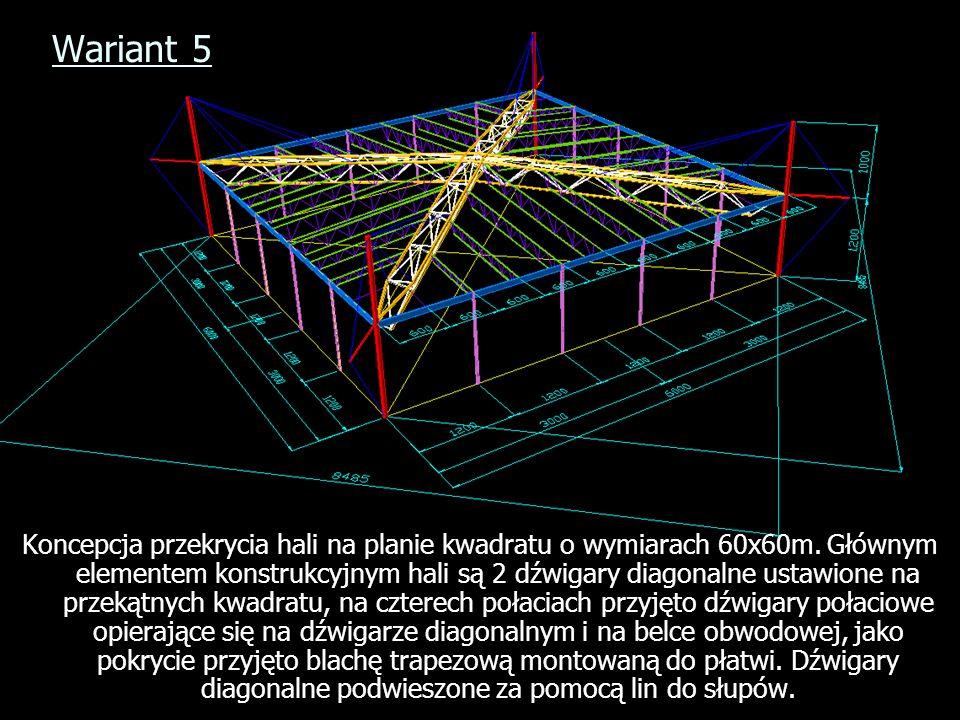 Wariant 5 Koncepcja przekrycia hali na planie kwadratu o wymiarach 60x60m. Głównym elementem konstrukcyjnym hali są 2 dźwigary diagonalne ustawione na