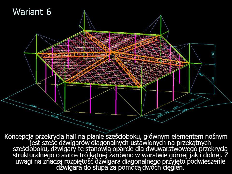 Wariant 6 Koncepcja przekrycia hali na planie sześcioboku, głównym elementem nośnym jest sześć dźwigarów diagonalnych ustawionych na przekątnych sześc