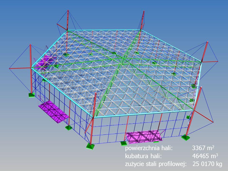 powierzchnia hali: 3367 m 2 kubatura hali: 46465 m 3 zużycie stali profilowej: 25 0170 kg