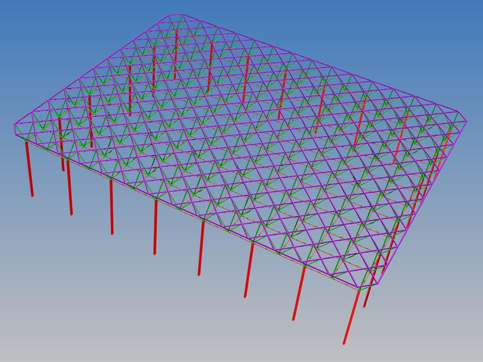 Wariant 2 Konstrukcja hali na planie prostokąta o wymiarach 50m x 60m, główne układy poprzeczne rozstawione co 6,0m.