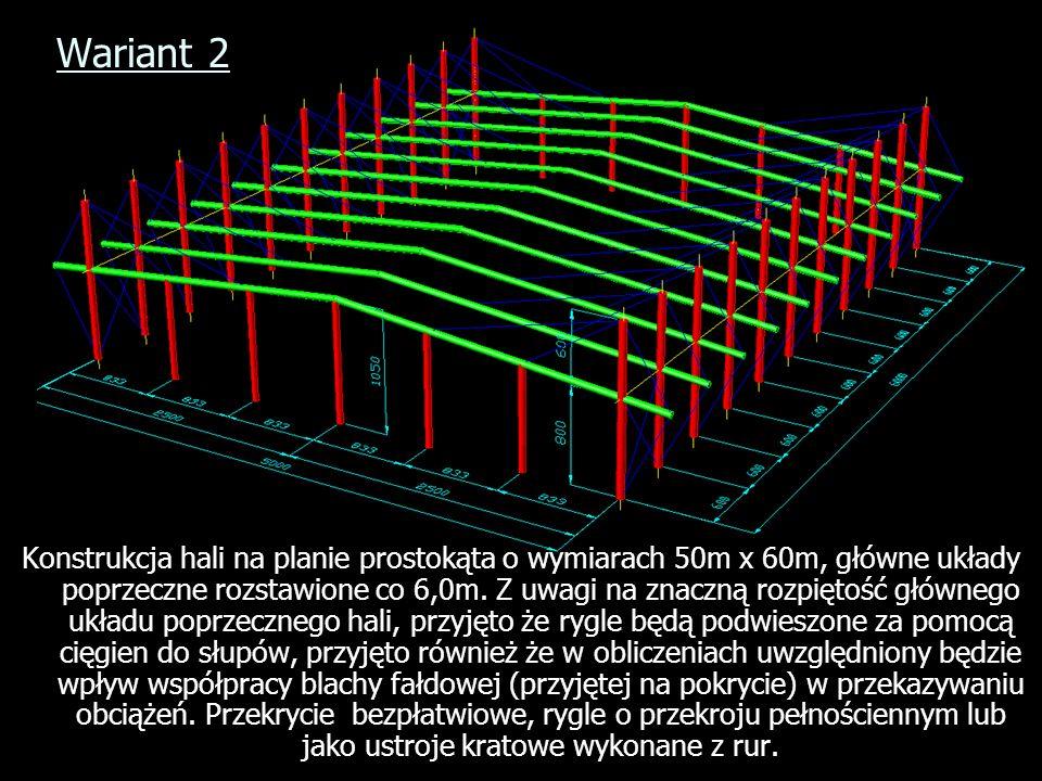 Wariant 2 Konstrukcja hali na planie prostokąta o wymiarach 50m x 60m, główne układy poprzeczne rozstawione co 6,0m. Z uwagi na znaczną rozpiętość głó