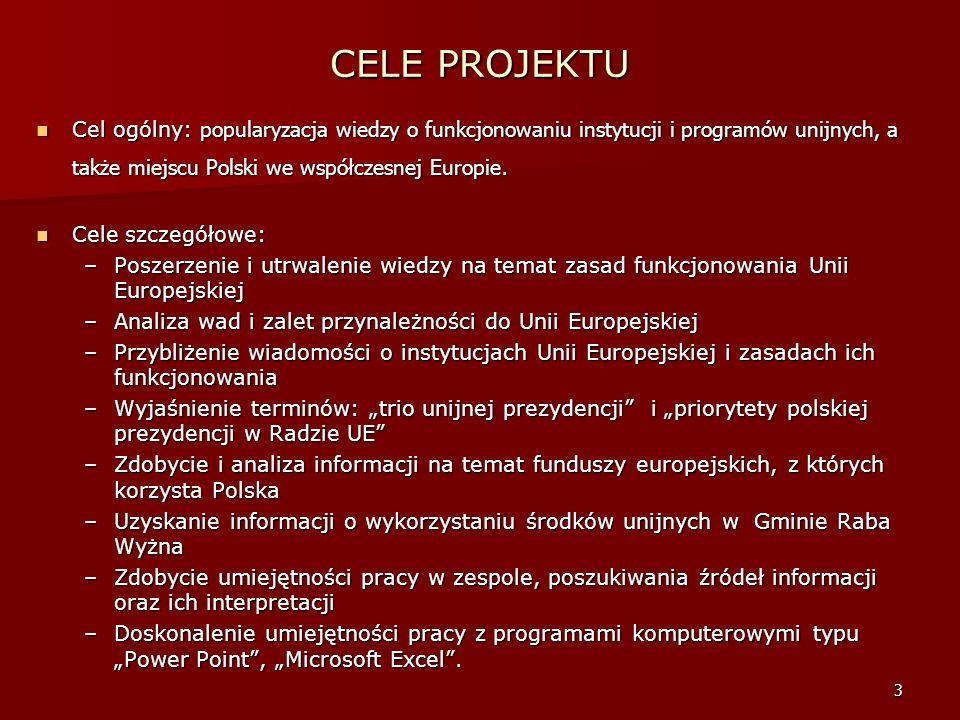 3 CELE PROJEKTU Cel ogólny: popularyzacja wiedzy o funkcjonowaniu instytucji i programów unijnych, a także miejscu Polski we współczesnej Europie.