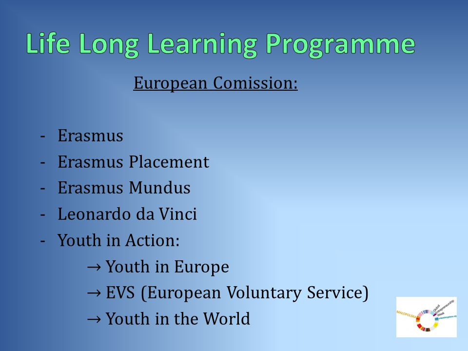 European Comission: -Erasmus -Erasmus Placement -Erasmus Mundus -Leonardo da Vinci -Youth in Action: Youth in Europe EVS (European Voluntary Service)
