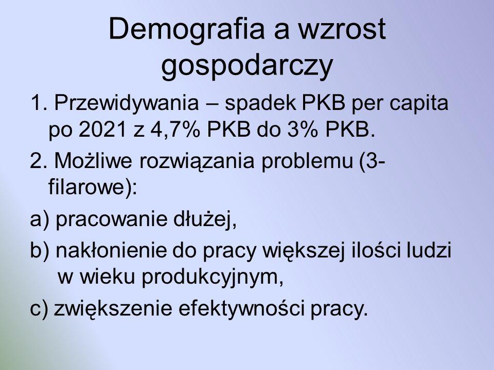 Demografia a wzrost gospodarczy 1. Przewidywania – spadek PKB per capita po 2021 z 4,7% PKB do 3% PKB. 2. Możliwe rozwiązania problemu (3- filarowe):