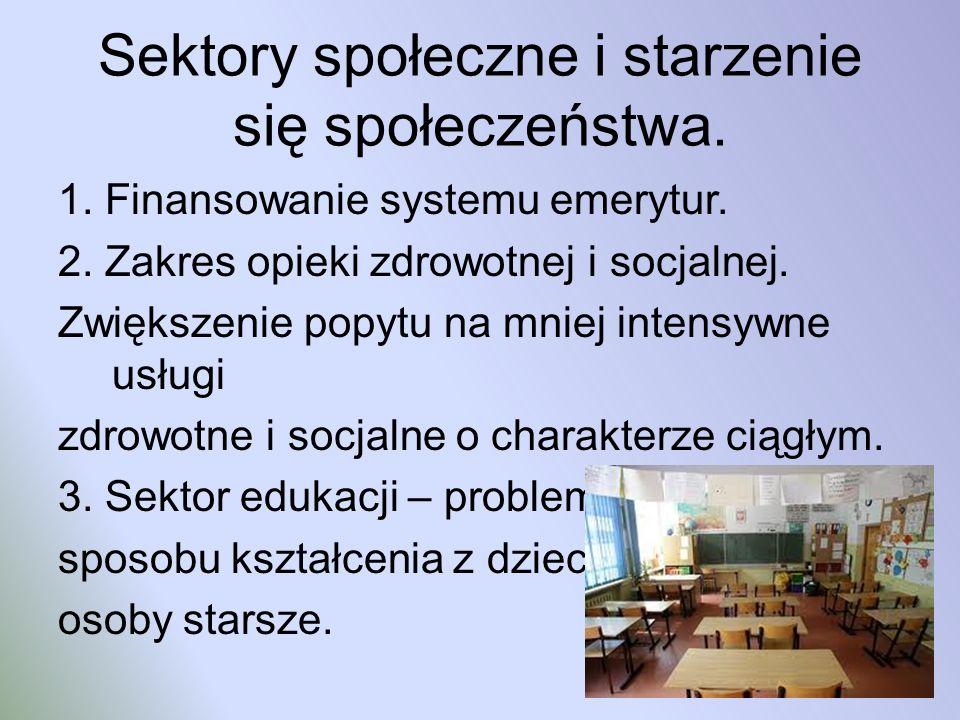 Sektory społeczne i starzenie się społeczeństwa. 1. Finansowanie systemu emerytur. 2. Zakres opieki zdrowotnej i socjalnej. Zwiększenie popytu na mnie