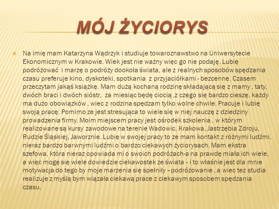 Na imię mam Katarzyna Wądrzyk i studiuje towaroznawstwo na Uniwersytecie Ekonomicznym w Krakowie. Wiek jest nie ważny więc go nie podaję. Lubię podróż