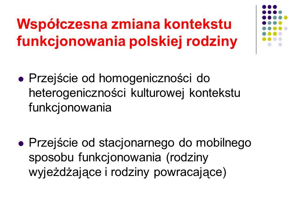 Rodzaje uwarunkowań zmiany kontekstu funkcjonowania polskiej rodziny Polscy emigranci opuszczający Polskę Polacy powracający do kraju Cudzoziemcy przybywający do Polski