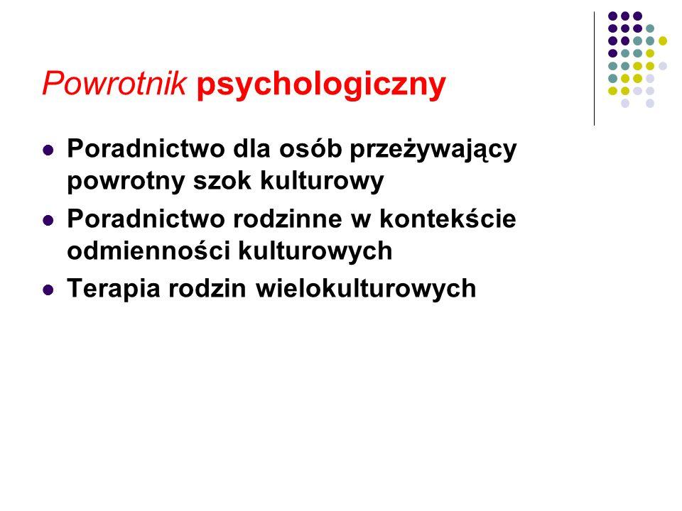 Powrotnik psychologiczny Poradnictwo dla osób przeżywający powrotny szok kulturowy Poradnictwo rodzinne w kontekście odmienności kulturowych Terapia r