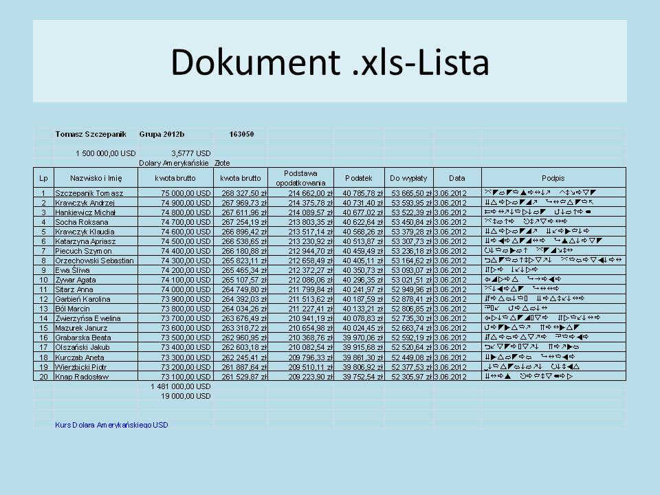 Dokument.xls-Lista