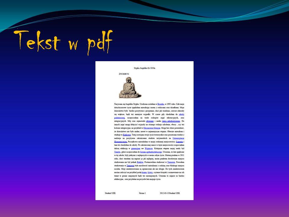 Tekst w pdf