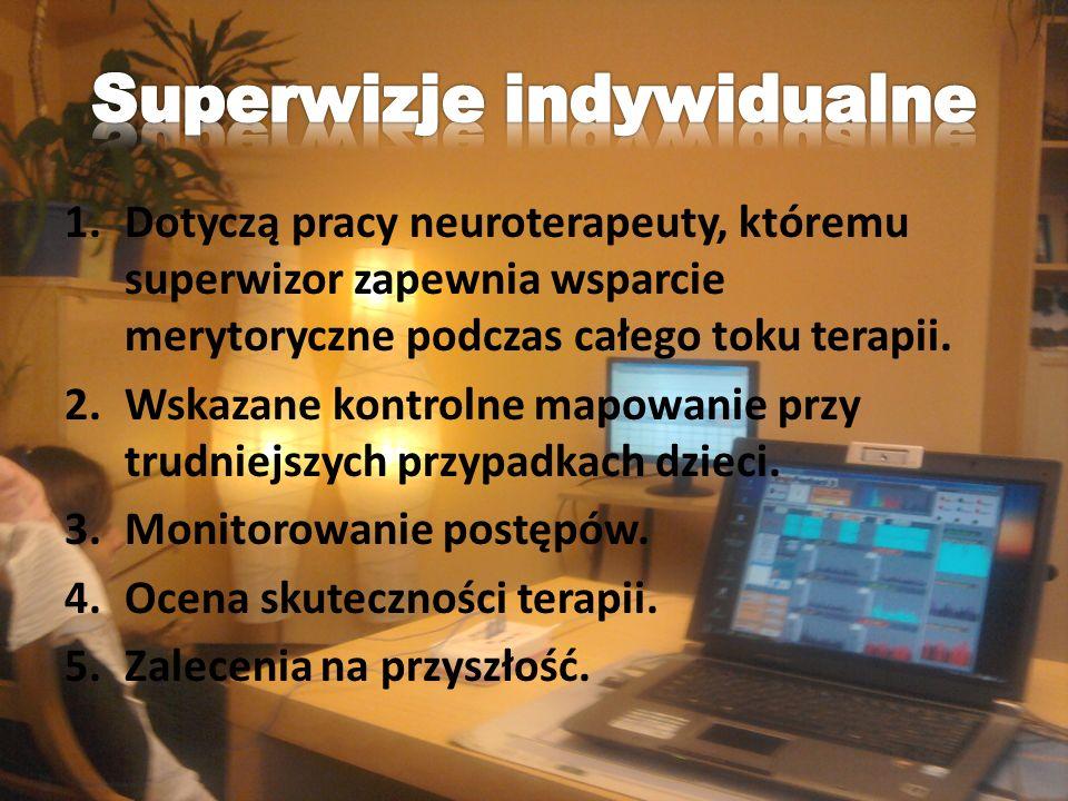 1.Dotyczą pracy neuroterapeuty, któremu superwizor zapewnia wsparcie merytoryczne podczas całego toku terapii. 2.Wskazane kontrolne mapowanie przy tru