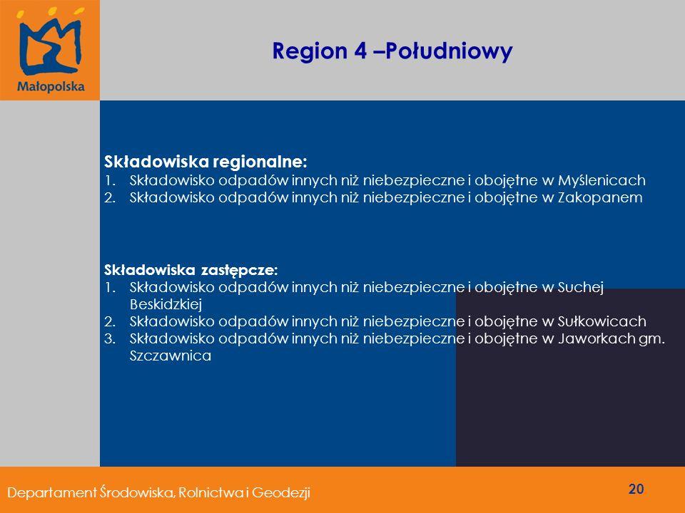 Region 4 –Południowy Składowiska regionalne: 1.Składowisko odpadów innych niż niebezpieczne i obojętne w Myślenicach 2.Składowisko odpadów innych niż