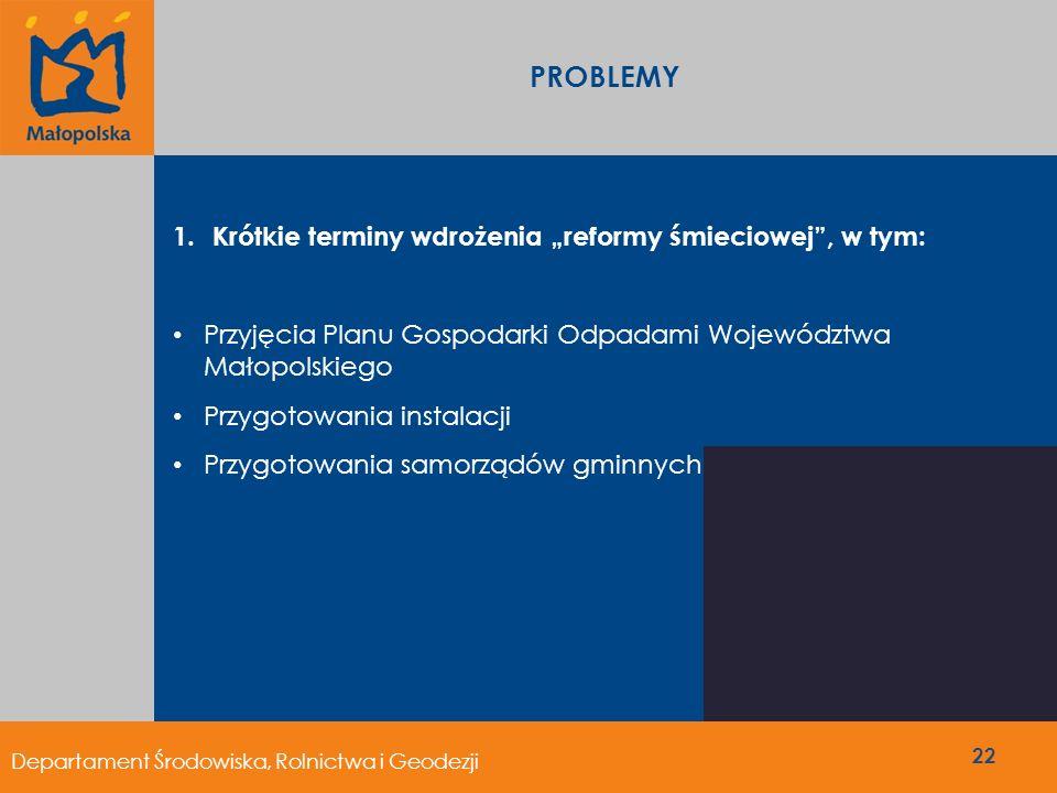 1.Krótkie terminy wdrożenia reformy śmieciowej, w tym: Przyjęcia Planu Gospodarki Odpadami Województwa Małopolskiego Przygotowania instalacji Przygoto