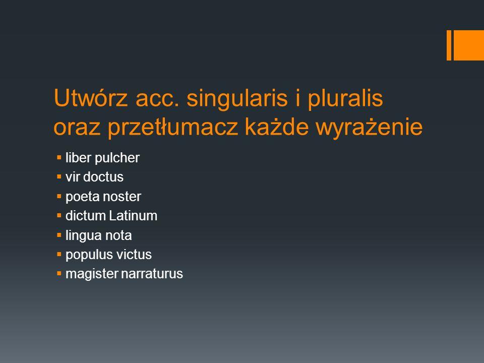 Utwórz acc. singularis i pluralis oraz przetłumacz każde wyrażenie liber pulcher vir doctus poeta noster dictum Latinum lingua nota populus victus mag