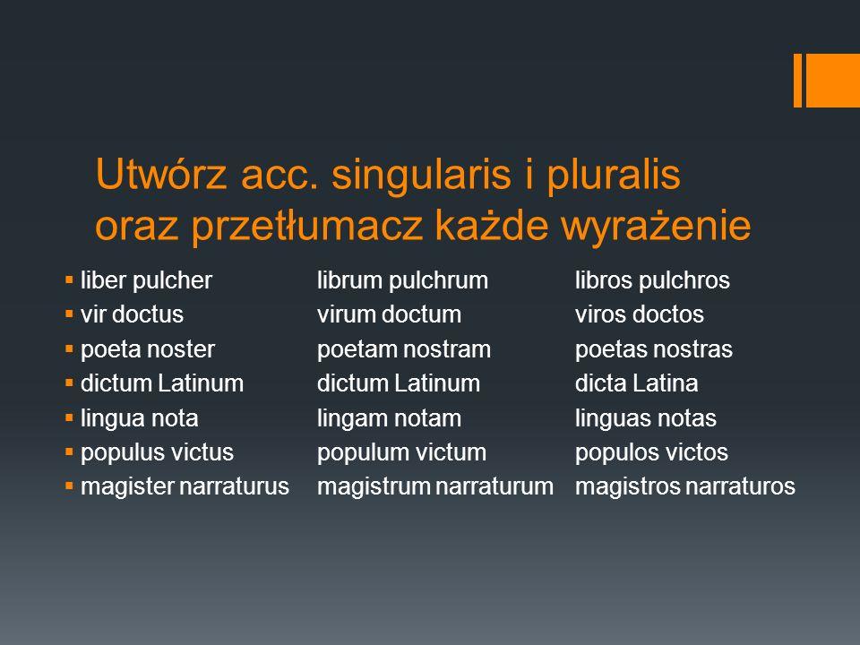 Utwórz acc. singularis i pluralis oraz przetłumacz każde wyrażenie liber pulcherlibrum pulchrumlibros pulchros vir doctusvirum doctumviros doctos poet