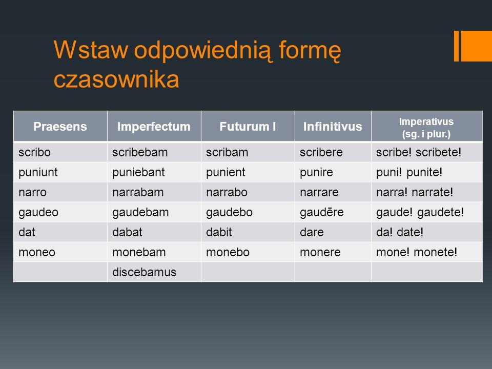 Wstaw odpowiednią formę czasownika PraesensImperfectumFuturum IInfinitivus Imperativus (sg. i plur.) scriboscribebamscribamscriberescribe! scribete! p