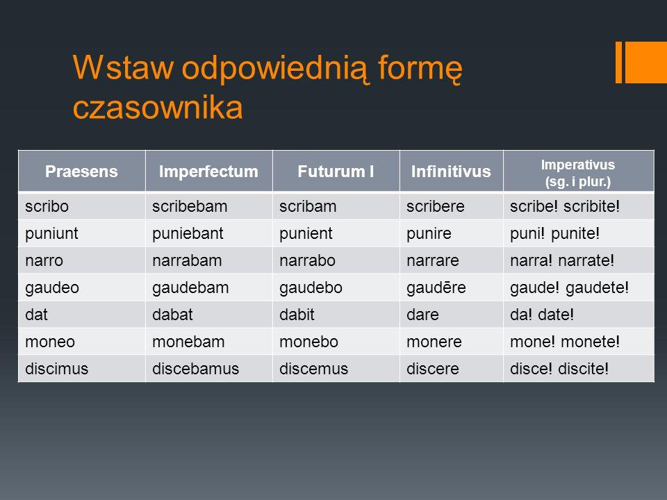 Wstaw odpowiednią formę czasownika PraesensImperfectumFuturum IInfinitivus Imperativus (sg. i plur.) scriboscribebamscribamscriberescribe! scribite! p