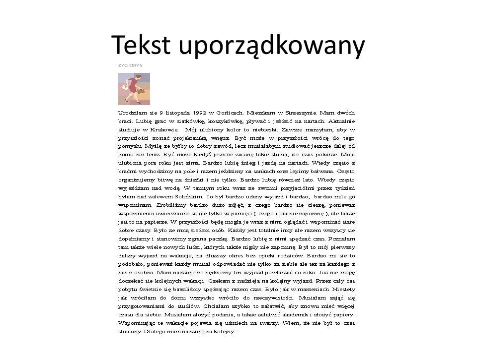 Tekst uporządkowany
