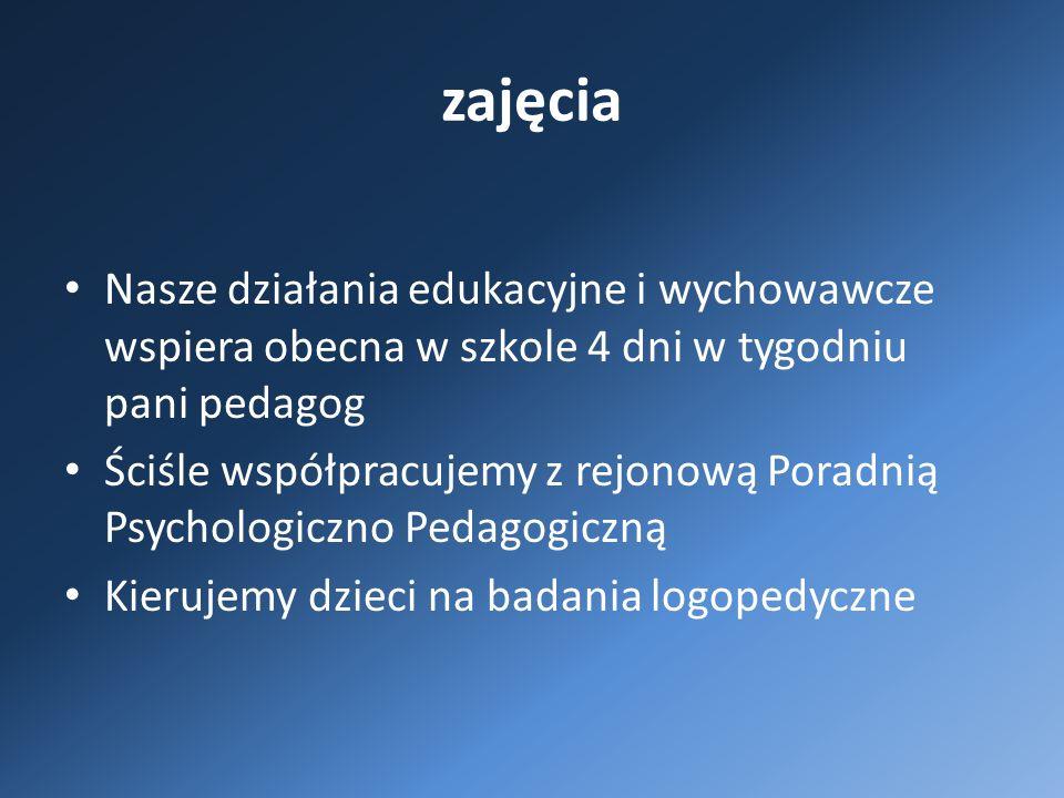 zajęcia Nasze działania edukacyjne i wychowawcze wspiera obecna w szkole 4 dni w tygodniu pani pedagog Ściśle współpracujemy z rejonową Poradnią Psychologiczno Pedagogiczną Kierujemy dzieci na badania logopedyczne