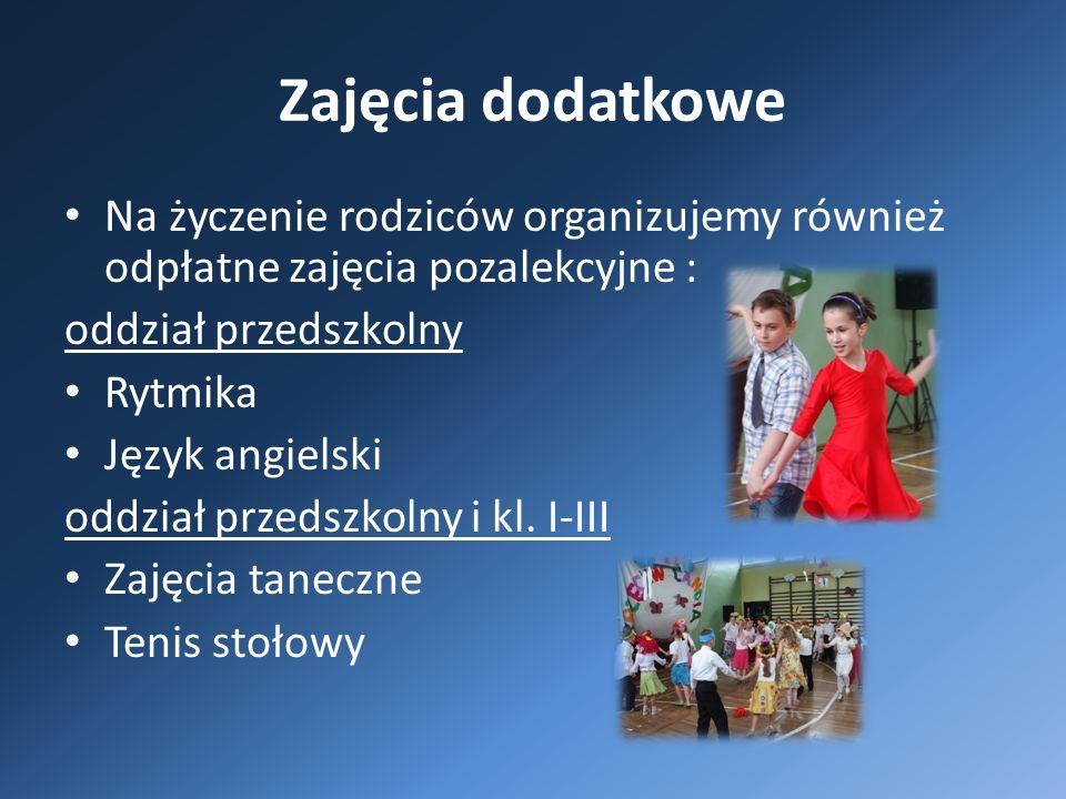 Zajęcia dodatkowe Na życzenie rodziców organizujemy również odpłatne zajęcia pozalekcyjne : oddział przedszkolny Rytmika Język angielski oddział przedszkolny i kl.