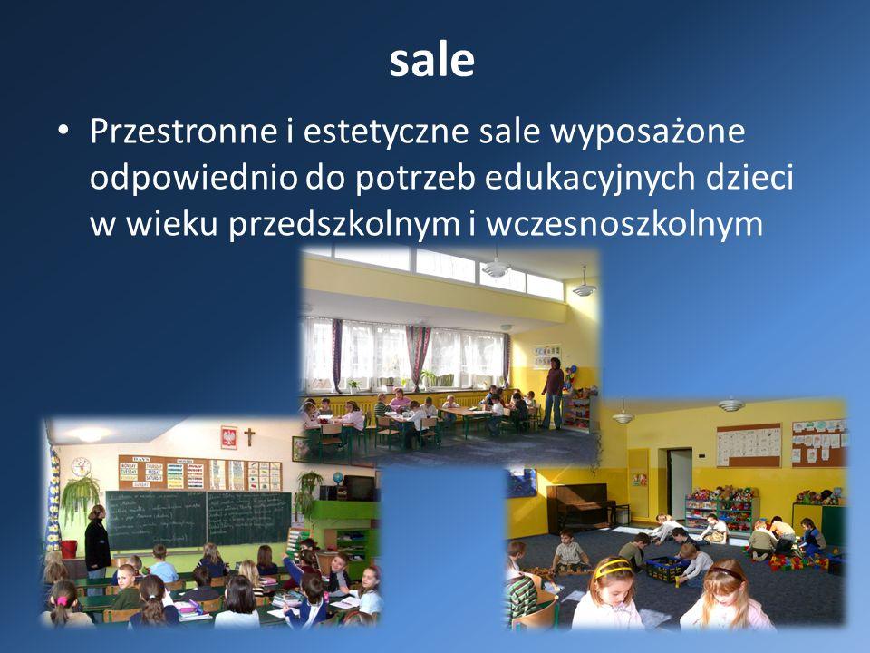 sale Przestronne i estetyczne sale wyposażone odpowiednio do potrzeb edukacyjnych dzieci w wieku przedszkolnym i wczesnoszkolnym