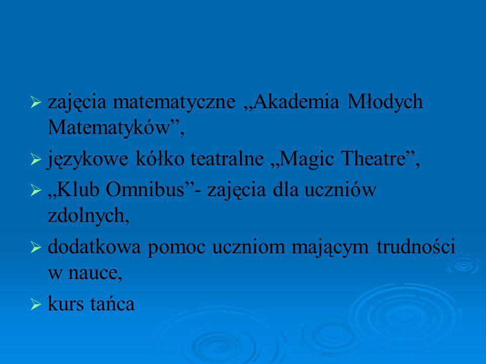 zajęcia matematyczne Akademia Młodych Matematyków, językowe kółko teatralne Magic Theatre, Klub Omnibus- zajęcia dla uczniów zdolnych, dodatkowa pomoc