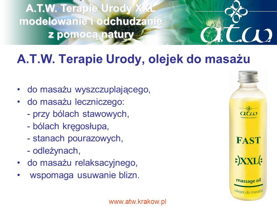 A.T.W. Terapie Urody, olejek do masażu do masażu wyszczuplającego, do masażu leczniczego: - przy bólach stawowych, - bólach kręgosłupa, - stanach pour