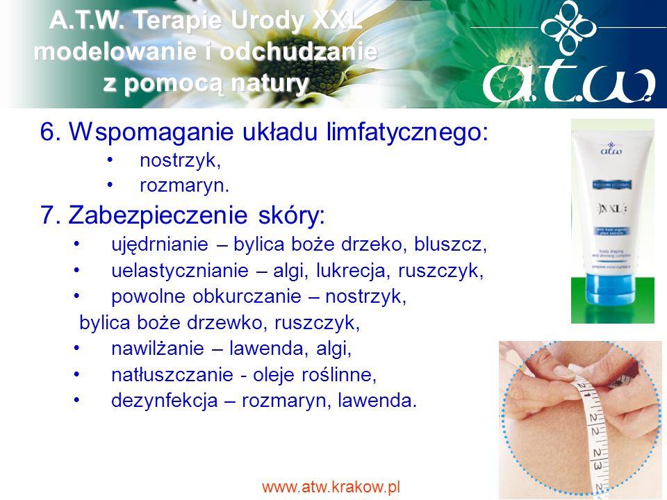 6. Wspomaganie układu limfatycznego: nostrzyk, rozmaryn. 7. Zabezpieczenie skóry: ujędrnianie – bylica boże drzeko, bluszcz, uelastycznianie – algi, l