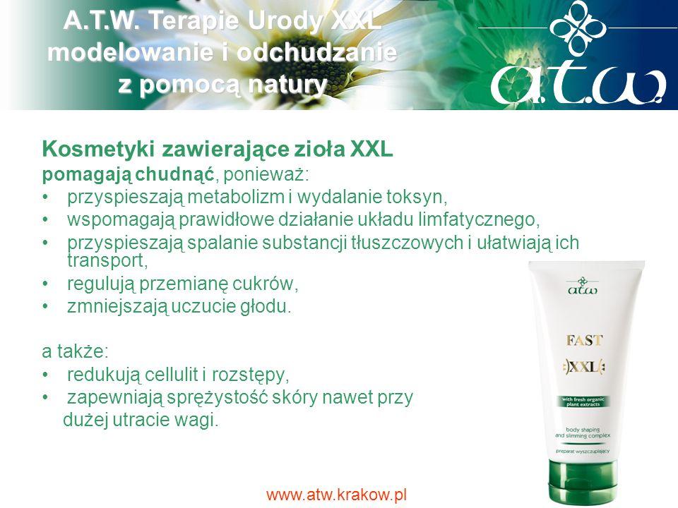 Kosmetyki zawierające zioła XXL pomagają chudnąć, ponieważ: przyspieszają metabolizm i wydalanie toksyn, wspomagają prawidłowe działanie układu limfat