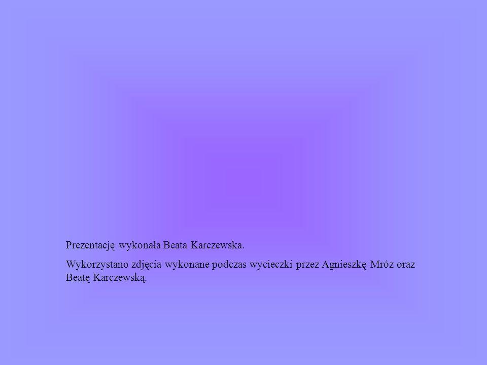 Prezentację wykonała Beata Karczewska. Wykorzystano zdjęcia wykonane podczas wycieczki przez Agnieszkę Mróz oraz Beatę Karczewską.