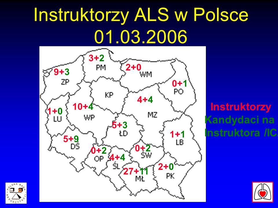 Instruktorzy ALS w Polsce 01.03.2006 27+11 Instruktorzy Kandydaci na Instruktora /IC/ 4+4 5+3 5+9 9+3 2+0 3+2 10+4 4+4 1+1 2+0 0+2 1+0 0+1 0+2