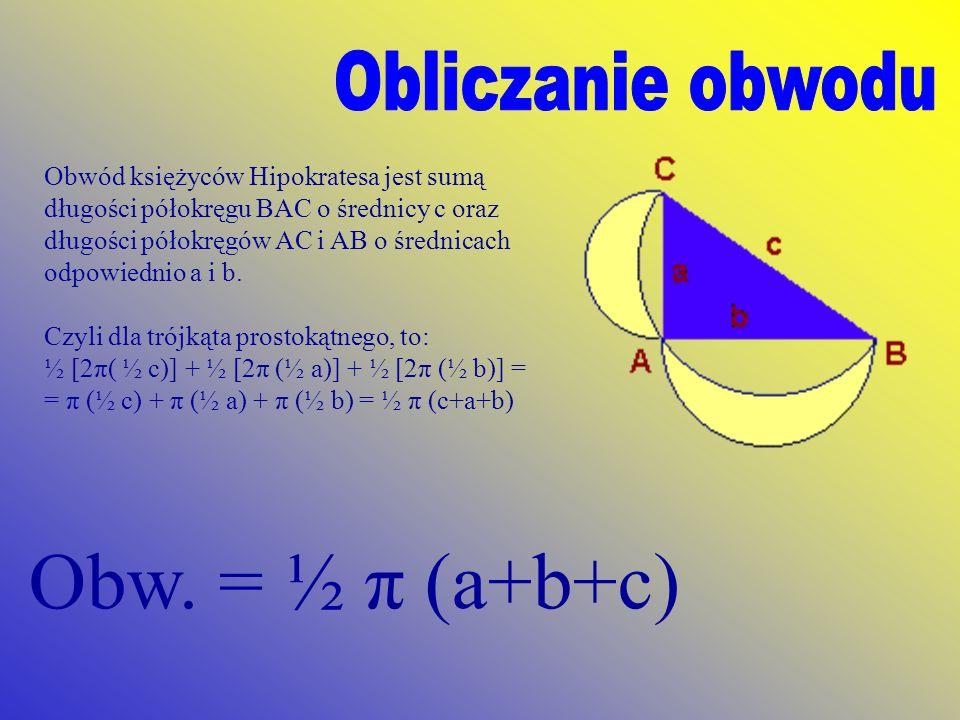 Obwód księżyców Hipokratesa jest sumą długości półokręgu BAC o średnicy c oraz długości półokręgów AC i AB o średnicach odpowiednio a i b. Czyli dla t