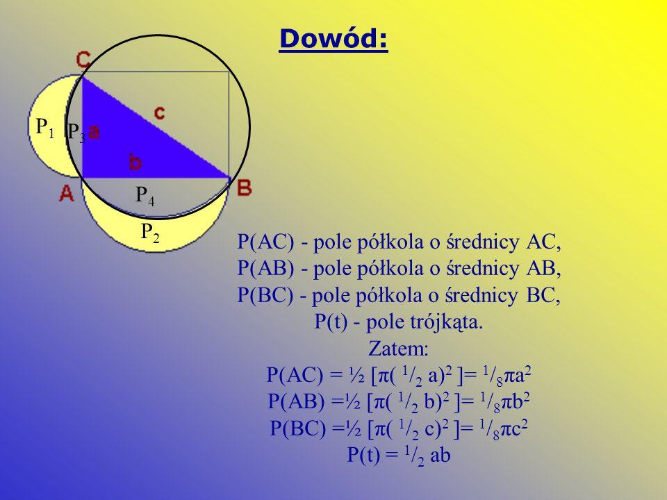Dowód: P(AC) - pole półkola o średnicy AC, P(AB) - pole półkola o średnicy AB, P(BC) - pole półkola o średnicy BC, P(t) - pole trójkąta. Zatem: P(AC)