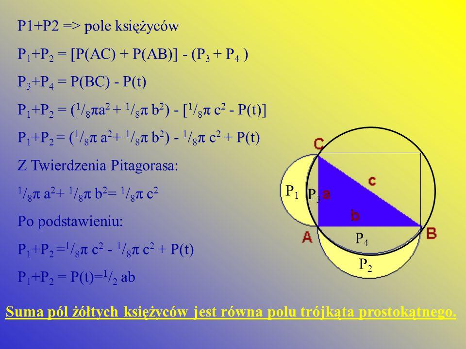 P1+P2 => pole księżyców P 1 +P 2 = [P(AC) + P(AB)] - (P 3 + P 4 ) P 3 +P 4 = P(BC) - P(t) P 1 +P 2 = ( 1 / 8 πa 2 + 1 / 8 π b 2 ) - [ 1 / 8 π c 2 - P(