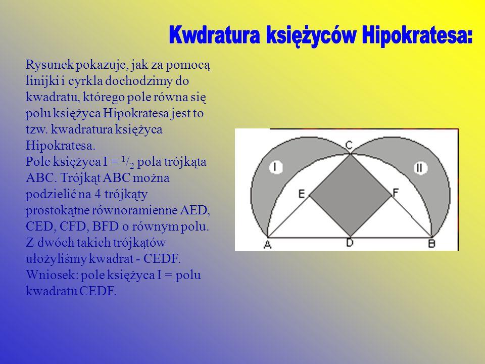 rys.22rys.22 Rysunek pokazuje, jak za pomocą linijki i cyrkla dochodzimy do kwadratu, którego pole równa się polu księżyca Hipokratesa jest to tzw. kw