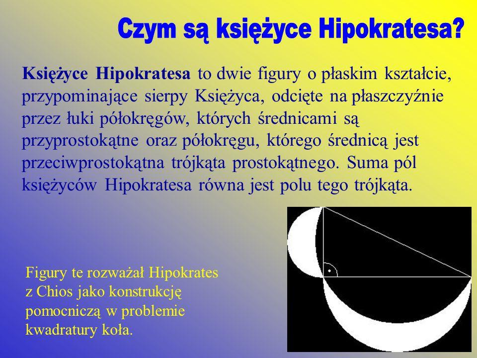 Księżyce Hipokratesa to dwie figury o płaskim kształcie, przypominające sierpy Księżyca, odcięte na płaszczyźnie przez łuki półokręgów, których średni