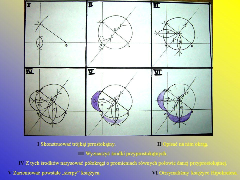 I Skonstruować trójkąt prrostokątny.II Opisać na nim okrąg. III Wyznaczyć środki przyprostokątnych. IV Z tych środków narysować półokręgi o promieniac
