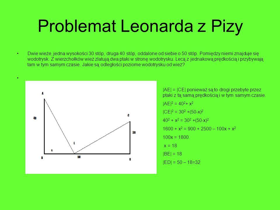 Problemat Leonarda z Pizy Dwie wieże, jedna wysokości 30 stóp, druga 40 stóp, oddalone od siebie o 50 stóp. Pomiędzy niemi znajduje się wodotrysk. Z w