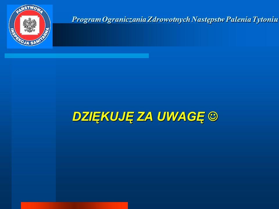 Program Ograniczania Zdrowotnych Następstw Palenia Tytoniu Program Ograniczania Zdrowotnych Następstw Palenia Tytoniu DZIĘKUJĘ ZA UWAGĘ DZIĘKUJĘ ZA UW