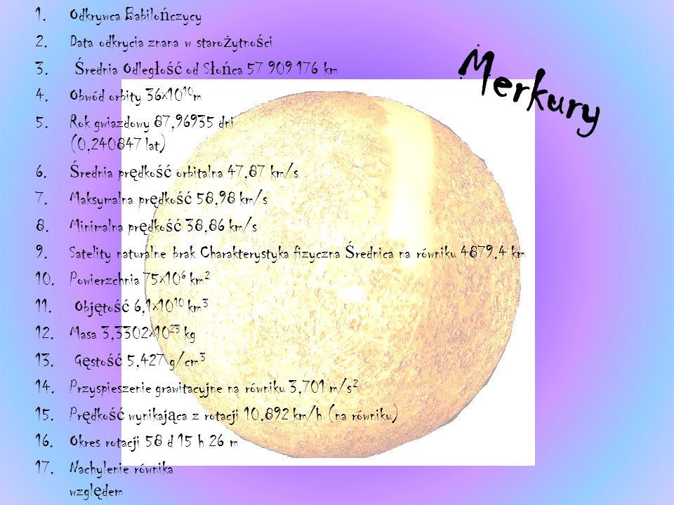 Merkury 1.Odkrywca Babilo ń czycy 2.Data odkrycia znana w staro ż ytno ś ci 3.