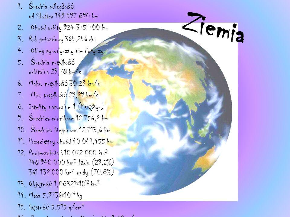 Ziemia 1.Ś rednia odleg ł o ść od S ł o ń ca 149 597 890 km 2.