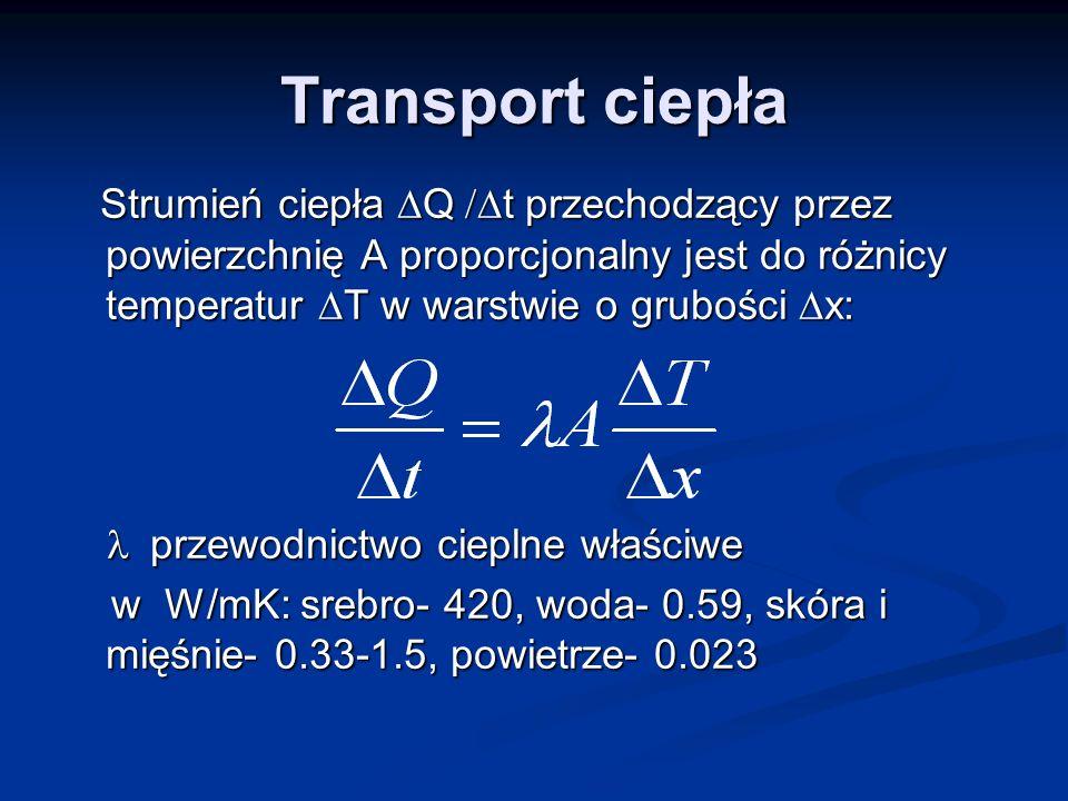 Transport ciepła Strumień ciepła Q t przechodzący przez powierzchnię A proporcjonalny jest do różnicy temperatur T w warstwie o grubości x: Strumień c